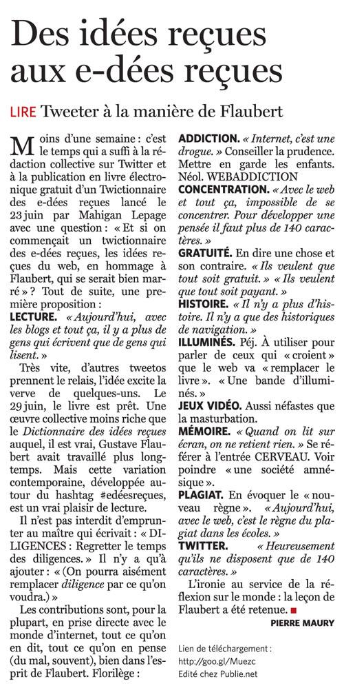 Article dans Le Soir, par Pierre Maury